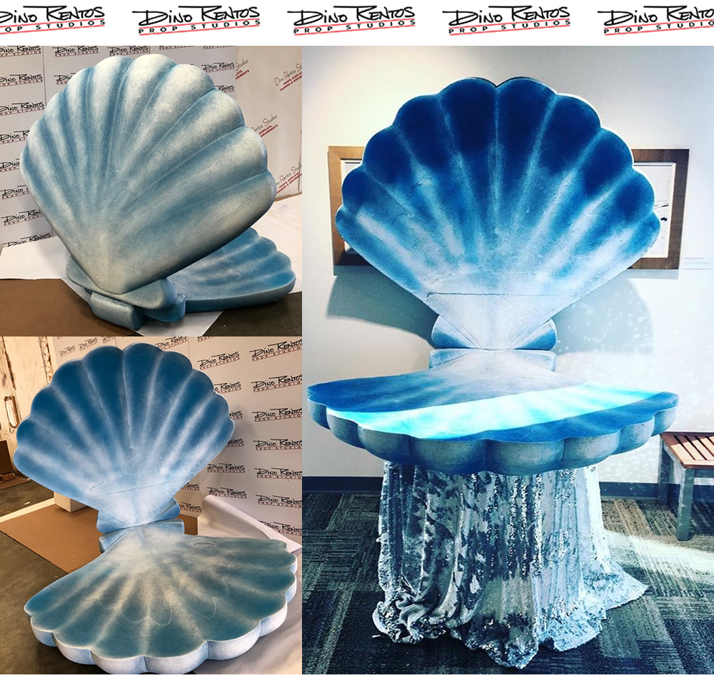Foam Painted Blue Clam Shell Prop