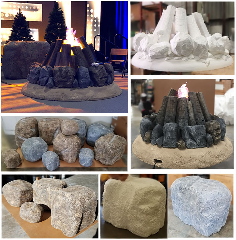 Custom Foam Story Rock and camp fire for tradeshows and events