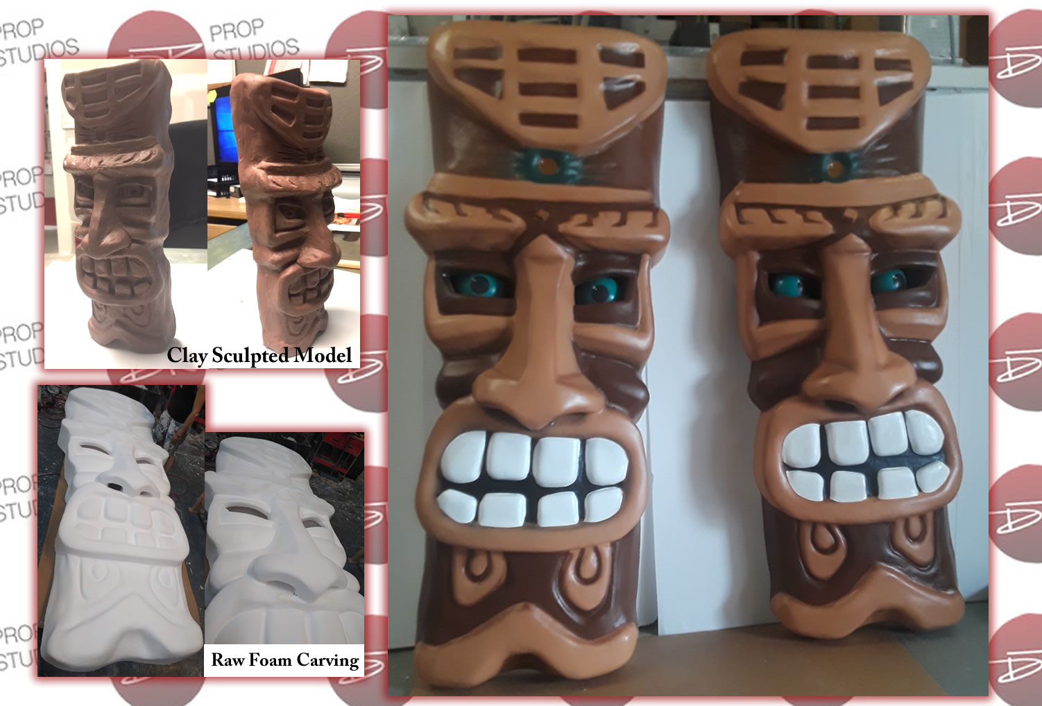 Large Oversized Tiki Foam Props for Stage Production in Cedar Point