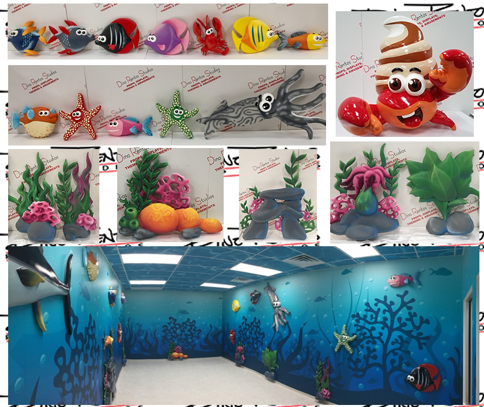 Custom Foam Sculpted Retail Displays and Decor Fish Sea Life Plants and Character