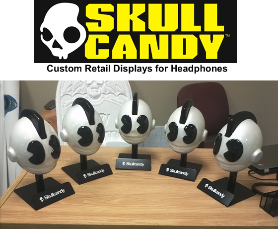 retail display - point of sale - skull candy - scenic merchandising - sculpture prop
