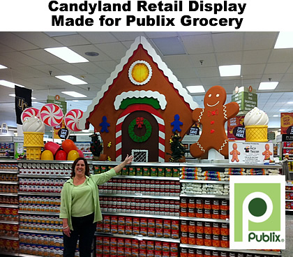 Custom Commercial Grade Retail Gingerbread Candy Ice Cream Display and Decor for Holiday Candyland Theme
