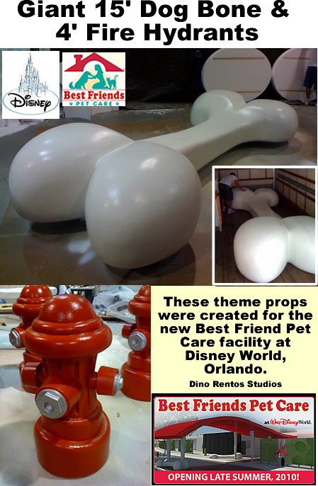 Custom 3D Foam Sculptured Dog Bone Fire Hydrant for Retail Display and Tradeshows