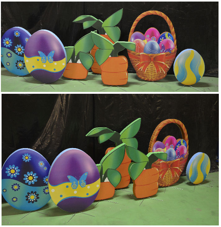 Custom Commercial Grade Retail Display and Decor for Holiday Theme Easter Eggs Baskets and Carrots
